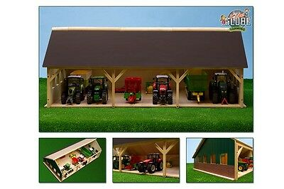 Kids Globe 3 Bay Timber Tractor Shed - Scale 1:32 Children's Toy Farm Buildings