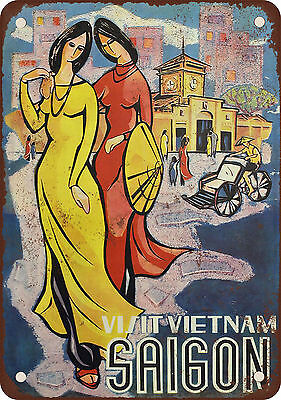 Visit Vietnam Saigon Vintage Look Reproduction Metal Sign