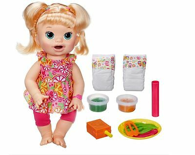 Baby Alive Super Snacks Snackin' Sara - Blonde little girl being a mommy NEW!!
