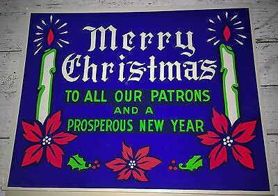 Vintage 50's Advertising Store Sign MERRY CHRISTMAS PROSPEROUS NEW YEAR Candle