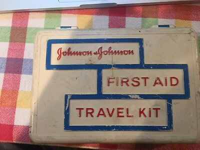 Vintage Johnson & Johnson First Aid Travel Kit (Plastic) Container