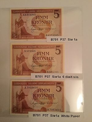 Iceland Banknotes For Kronur B701 P37  Sig1a. Sig1a 6 Digit. And Sig1a W/Paper.