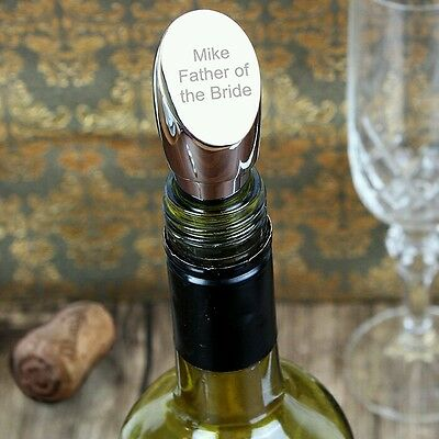 Silver Personalised Wine Bottle Stopper Wedding Anniversary Birthday Gift