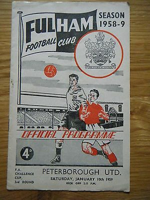 1958 / 1959 FULHAM v PETERBOROUGH F. A. CUP FOOTBALL PROGRAMME
