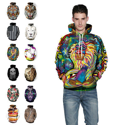 Novelty Mens 3D Printed Hoodie Sportswear Sweatshirt Hooded Pullover Tops Coat