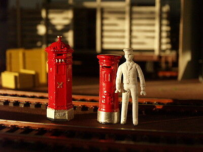 O Gauge, 1/43, 1/48 Ect, 2 X Painted  Metal Postboxes