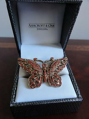 Pretty Signed Cn Carnelian Coral ? Butterfly Ring Size 7