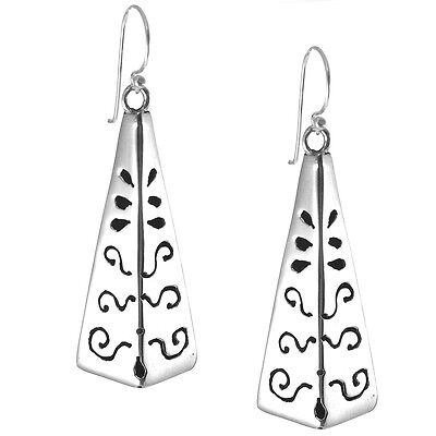 TAXCO STERLING SILVER 925 SHADOW BOX TRIANGLE DROP EARRINGS - Mexico 925 Jewelry