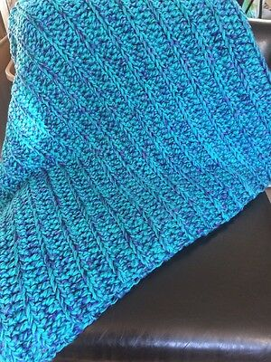 NEW Hand Made Knitted Afghan Knit Blanket Throw 58 X 52 Teal Blues Purples Thick