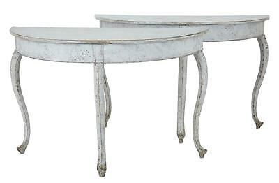Pair 19Th Century Swedish Painted Demi Lune Tables