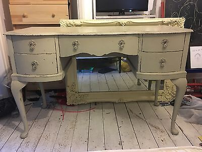 Antique French Style Dressing Table And Matching Stool