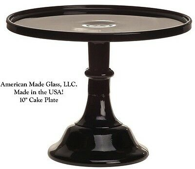 """Black Raspberry Glass Plain & Simple 10"""" Cake Plate Bakers Stand Pastry Tray"""