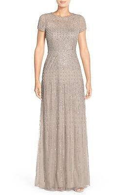 $369 NWT Adrianna Papell Embellished Mesh Gown Pearl Bronze 2, 8, 14, 14W