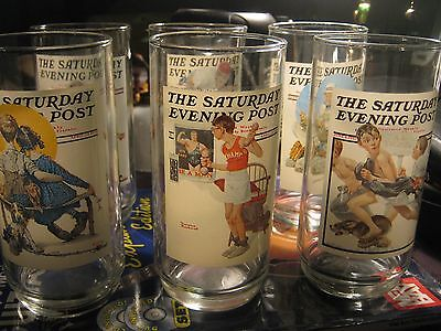 Lot Of 6 Norman Rockwell Saturday Evening Post Drinking Glasses