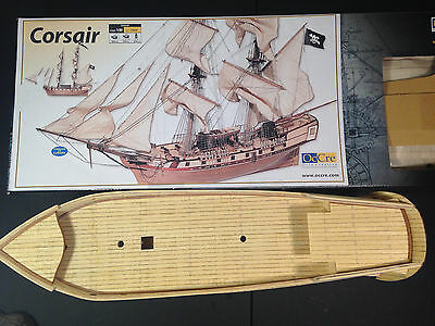 """OcCre """"Corsair"""" 1:80 Scale Wood Ship Model Kit. Partially Assembled"""