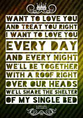 Bob Marley Is This Love Reggae Pop Poster Music Lyric A4 Quote Word Art Print