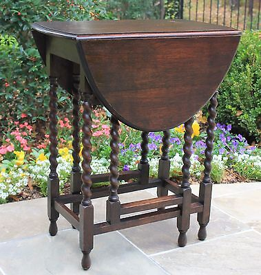 Antique English Dark Oak Barley Twist Drop Leaf SMALL Oval Gate Leg Table