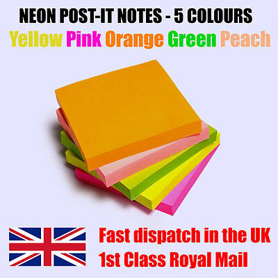 Assorted Neon Removable Sticky Post It Notes 76mm x 76mm Individually Packed Pad