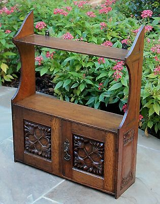 Antique English Carved Oak Small Wall Hanging Display Cabinet Shelf Spice Rack