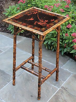 Antique English Tortoise Bamboo Square Occasional End Table Plant Stand Bird