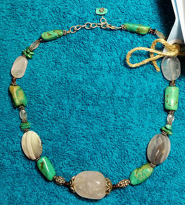 OOAK Hand Made Necklace USA Choker Rose Quartz Turquoise Stone Retro/Vintage