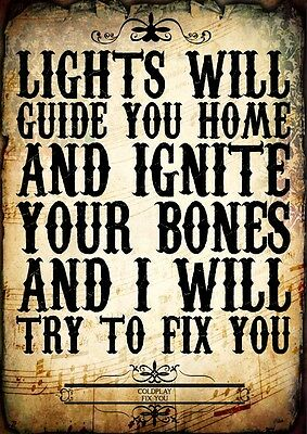 Coldplay Fix You Indie Rock Pop Poster Music Lyrics A4 Quote Word Wall Art Print