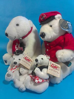 Coca Cola Polar Bears Plush White Teddy Cavavagh Bean Bag Beanie Lot of 4 1999