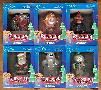 NEW Set 6 Rudolph Red-Nosed Reindeer Blown Glass Ornaments FREE SHIPPING!