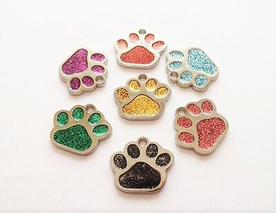 Personalised Pet Tags 25mm Glitter PAW Print Tag Dogs Cats PET ID FREE Engraved