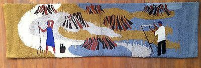 Vtg Mid Century Abstract Handwoven Wool Tapestry Wall Art Textile Large Folk Art
