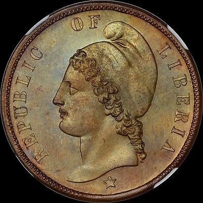 Tied Finest @ Pcgs & Ngc Pf66 Bn 1866 Liberia Cent Copper Pn-12 Liberty Toned
