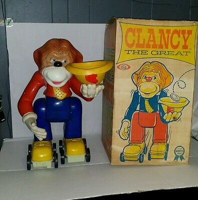 Vintage Ideal Clancy The Great Battery Operated Monkey Toy W/Orig Box