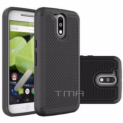 Motorola Moto G4 Plus Rugged Rubber Dual Layer Impact Hybrid Case Cover - Black