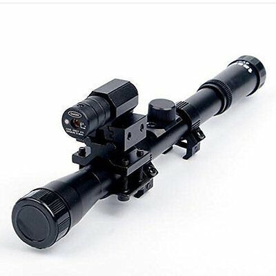 4x20 Air Rifle Scope with Red Laser Sight 20mm Mount For Rifles/Airsoft Gun