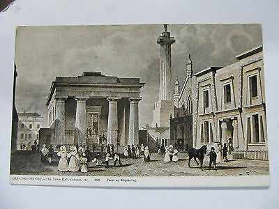 Vintage Art postcard UK - Old Deveonport Town Hall 1829 from engraving - unused