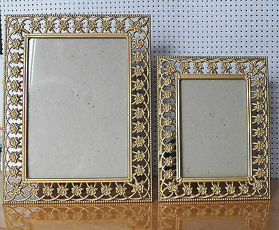 Two Very Beautiful Brass Frames With Flower Designs Yellow Gold Colour - Perfect