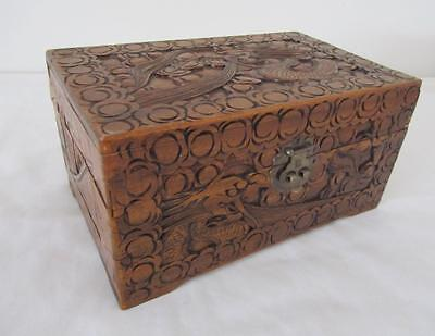 Vintage CAMPHOR Wood Storage CHEST Large Jewellery Box Hand Carved