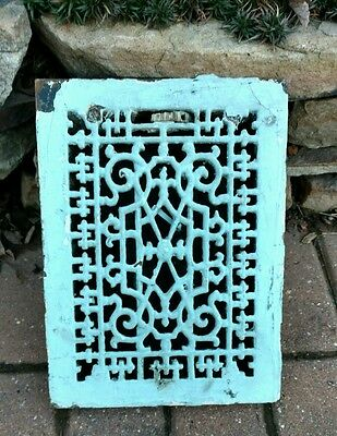 Ornate Antique Cast Iron Air Vent Wall Art Floor Grate Heat Register Old Gothic