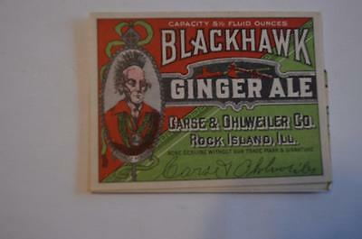 Blackhawk Ginger Ale  Label 1930s ?  Rock Island ILL. Indian Chief