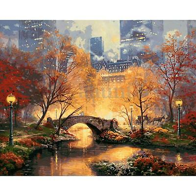 16X20'' DIY Paint By Number Kit Digital Oil Painting Canvas Beauty City Park New