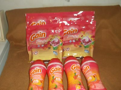 gain flings tropical sunrise detergent lot 4 packs x 16 count & 4 scent booster