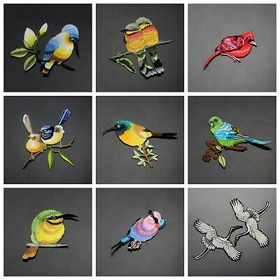 Bird Embroidery Iron on Patch Sewn For Clothing Applique Motif Craft DIY Random