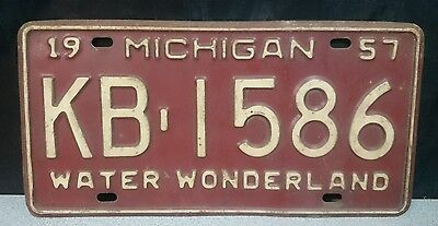 1957 White on Red Michigan License Plate