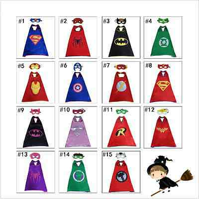 Children Superhero Comic Book Hero Cape Mask Kids Fancy Dress Costume Outfit CAP
