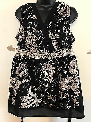 Freeshipping NWT MOTHERHOOD MATERNITY Sleeveless V Neck Floral Blouse XL Black