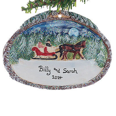 Horse and Sleigh Personalized Christmas Ornament  Newly Wed or Family (96)