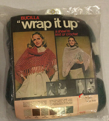 Vtg Bucilla Wrap It Up Green Shawl Kit 7874 Yarn Knit Crochet Spice Sport Sealed