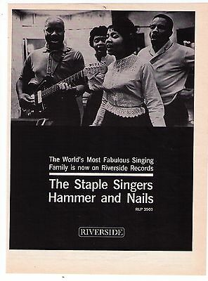 """1962 The Staple Singers """"Hammer And Nails"""" Album Trade Print Advertisement"""