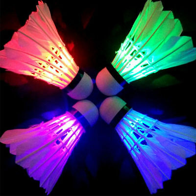 4Pcs Dark Night Colorful Glowing LED Badminton Shuttlecock Birdies Lighting KY
