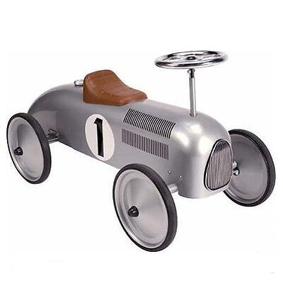 Classic Retro Silver Steel Ride On Metal Toy Car